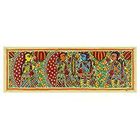 Madhubani painting, 'Becoming One - Rama and Sita' - Madhubani Hinduism Ramayana Painting Signed Art