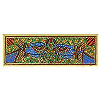 Madhubani painting, 'Peacock Dance II' - Madhubani Peacock Painting with Natural Dyes