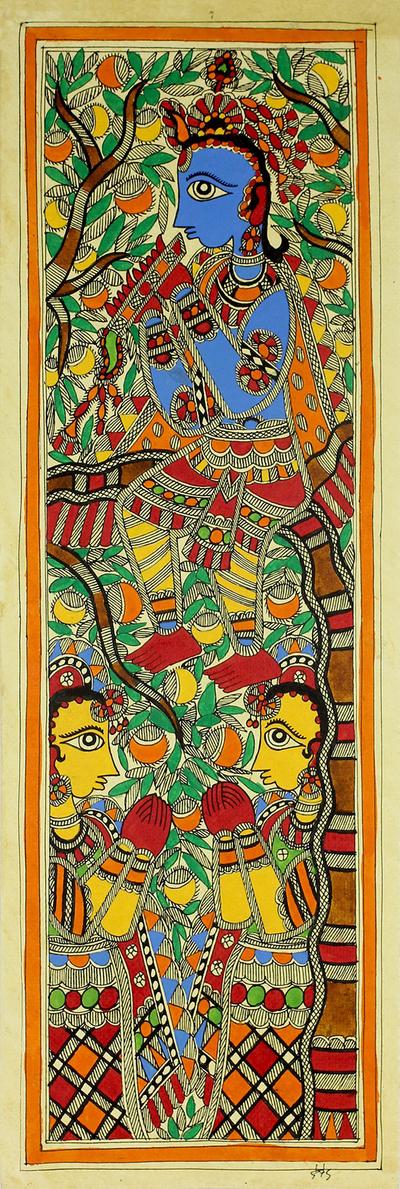 Krishna Madhubani Hinduism Painting on Handmade Paper