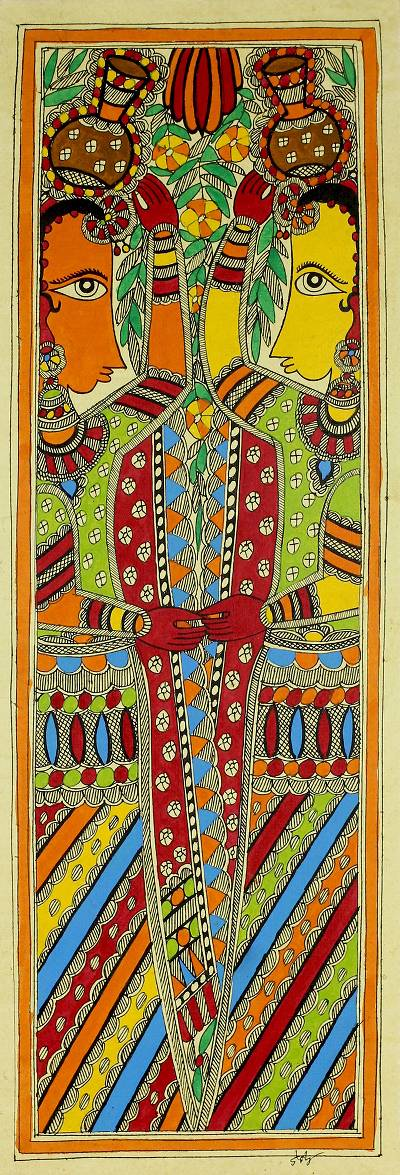 Madhubani painting, 'Village Lasses II' - Madhubani Painting Signed Art on Handmade Paper