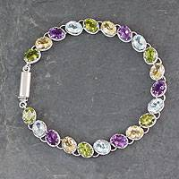 Multigem tennis bracelet, 'Cascading Colors' - Handmade Silver Bracelet with Four Kinds of Faceted Gems