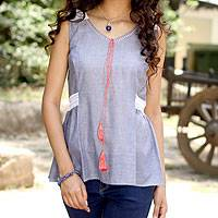 Cotton blouse, 'A Touch of Lace' - Lace Trim Blue 100% Cotton Chambray Blouse from India