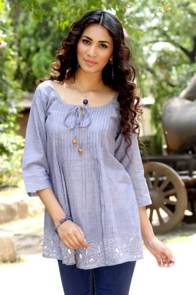 Cotton blouse, 'Casual Elegance' - India Blue Cotton Chambray Smock Top with Embroidery