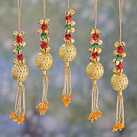 Beaded brass ornaments, 'Jingle Bells' (set of 5) - Set of 5 Handcrafted Beaded Brass Bell Christmas Ornaments