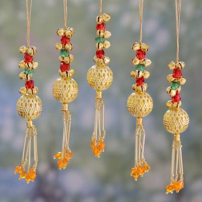 Beaded brass ornaments, Jingle Bells (set of 5)