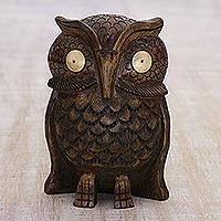 Wood statuette, 'Owl Storyteller' - Hand Carved Wood Bird Figurine Sculpture from India