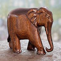 Wood statuette, 'Fabled Elephant' - Hand Carved Wood Statuette Sculpture with Aged Finish