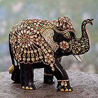 Wood statuette, 'Majestic Elephant II' - Embellished Black Elephant Wood Sculpture Crafted by Hand