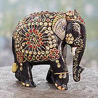 Wood sculpture, 'Majestic Indian Elephant' - Bejeweled Black Elephant Hand Crafted Sculpture from India