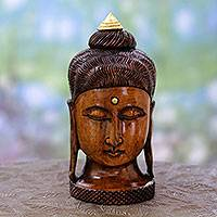 Wood statuette, 'Buddha Inspired' - Artisan Crafted Young Buddha Antiqued Wood Statuette