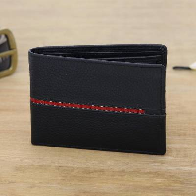 Men's leather wallet, 'Suave in Red' - Black Leather Wallet for Men with Multiple Pockets