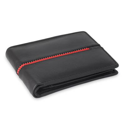 Black Leather Wallet for Men with Multiple Pockets