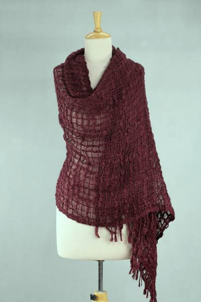 Textured shawl, 'Gossamer Wine' - Fair Trade Loosely Woven Burgundy Lightweight Shawl