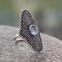 Blue topaz cocktail ring, 'Starlight Love Expression' - Handmade Oxidized Silver Cocktail Ring with Blue Topaz