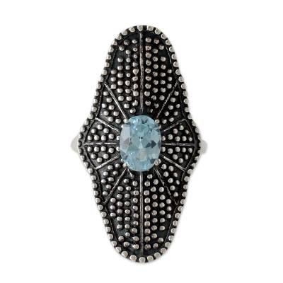 Handmade Oxidized Silver Cocktail Ring with Blue Topaz