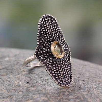 Handcrafted Oxidized Silver Cocktail Ring with Citrine