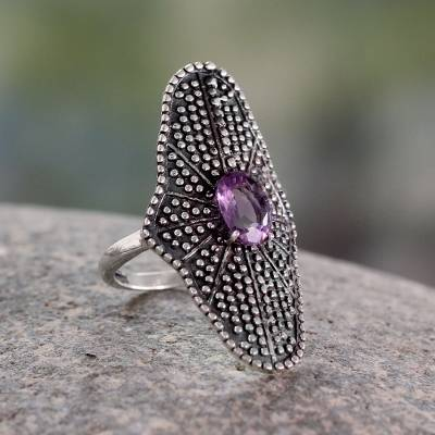 Bollywood Amethyst and Oxidized Silver Cocktail Ring