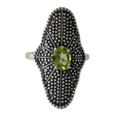 Fair Trade Cocktail Ring with Peridot and Oxidized Silver