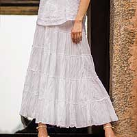 Cotton skirt, 'Frilly White' - Unlined Semi-Sheer Tiered White Cotton Skirt