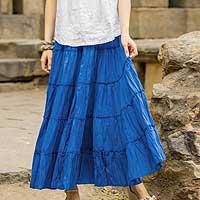 Cotton skirt, 'Blue Frills' - Long Royal Blue Cotton Ruffled Skirt from India