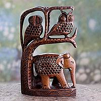 Wood sculpture, 'Forest Creatures' - Hand Carved Sculpture of Two Owls with an Elephant
