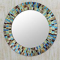 Glass mosaic mirror, 'Retro Dance' - Disco Style Multicolor Glass Mosaic Circular Wall Mirror