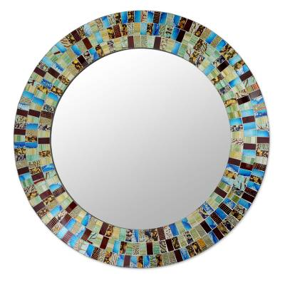 Glass mosaic mirror, 'Retro Dance' - Disco Style Multicolor Glass Mosaic Circular Wall Mirror