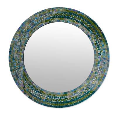 Glass mosaic mirror, 'Forest Charm' - Indian Handcrafted Glass Mosaic Wall Mirror