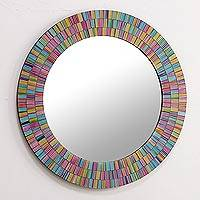 Glass mosaic mirror, 'Rainbow Halo' - Artisan Crafted Glass Mosaic Wall Mirror in Many Colors