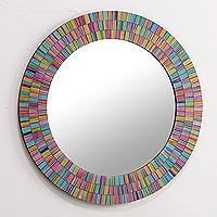 Glass mosaic mirror, 'Rainbow Halo'