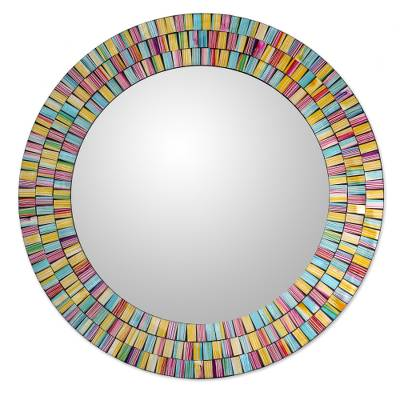 Artisan Crafted Glass Mosaic Wall Mirror in Many Colors