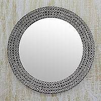 Iron mosaic mirror, 'Industrial Image' - Round Handcrafted Wall Mirror with Brass and Iron Studs