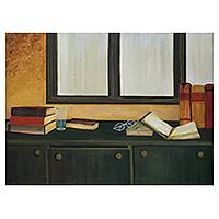 'Open Book' - Original Realist Painting of Still Life from Indian Artist