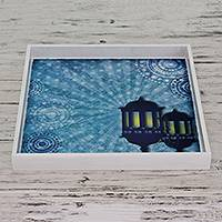 Decoupage tray, 'By the Light of Lanterns' - Decoupage Tray Crafted by Hand in Blue and White