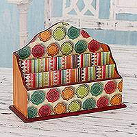 Decoupage letter holder, 'Chakra Rainbow' - Multi Color Decoupage on Wood Letter Holder from India