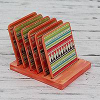 Decoupage coasters, 'Tantalizing Symmetry' (set of 6) - Multi Color Decoupage on Wood Coasters and Holder (Set of 6)