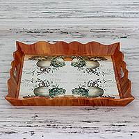 Decoupage tray, 'Olives Delight' - Artisan Crafted Decoupage Wood Tray from India