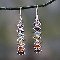 Multi-gemstone dangle earrings, 'Chakra Balance' - Seven-Gemstone Dangle Earrings in 925 Sterling Silver