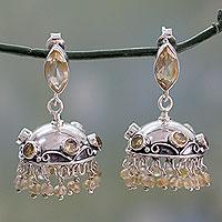 Citrine dangle earrings, 'Golden Jhumki' - Handcrafted Citrine and 925 Silver Dangle Earrings
