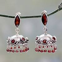 Garnet dangle earrings, 'Scarlet Jhumki' - Artisan Crafted Garnet Dangle Earrings in Sterling Silver
