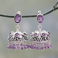 Amethyst dangle earrings, 'Lilac Jhumki' - Traditional Indian Amethyst Dangle Style Earrings