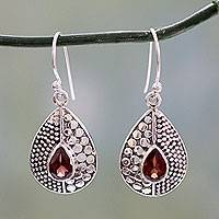 Garnet dangle earrings, 'Scarlet Fusion' - Sterling Silver and Garnet Dangle Earrings from India