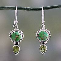 Peridot dangle earrings, 'Spring Green' - Peridot and Sterling Silver Dangle Earrings from India