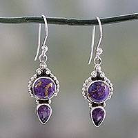 Amethyst dangle earrings, 'Vision in Purple' - Artisan Crafted Amethyst and Silver 925 Earrings from India
