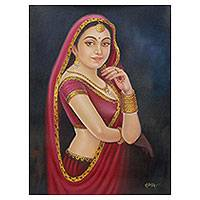 'Rajasthani Beauty IV' - Bollywood Style Oil Painting of Beautiful Indian Woman