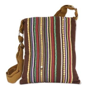 Cotton cross-body shoulder bag, 'Earthly Beauty' - Indian Handmade Multicolor Cotton Cross-Body Handbag