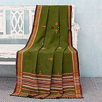 Acrylic throw blanket, 'Olive Mood' - Olive Green Acrylic Throw Blanket Hand Made in India