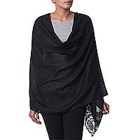 Wool blend shawl, 'Impassioned Kashmir' - Floral Lace on Black Wool Blend Shawl Wrap from India