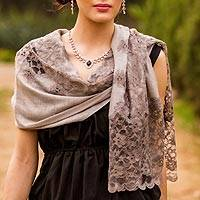Wool blend shawl, 'Infinite Kashmir'