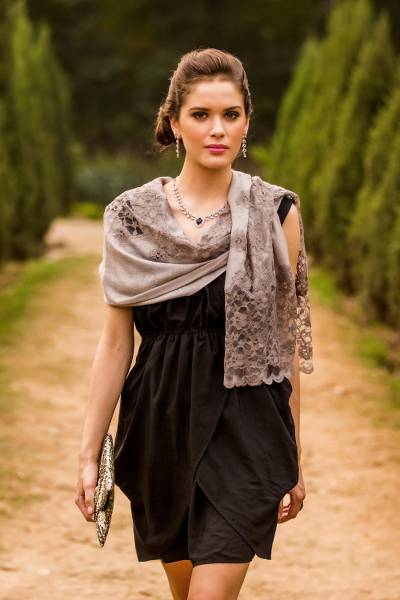Wool blend shawl, 'Infinite Kashmir' - Taupe Grey Wool Blend Shawl Trimmed with Floral Lace